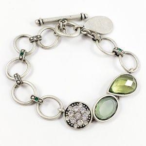 Lia Sophia Bracelet Green Stones Antique Silver